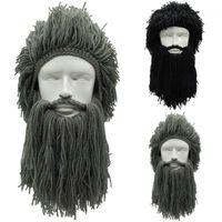 Шапочки 2021 est Мужчины вязаные викинговые бороды шапки зимняя теплая лыжная маска усы шапочки шапки парики косплей diy творческие шапочки1