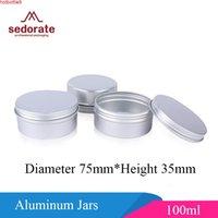المؤركون 20 قطعة / الوحدة بالجملة رخيصة الفضة الألومنيوم الجرار 100 ملليلتر كريم فارغة للشفقة فريق بلسم حالة الصابون MC7535-1Good المنتج