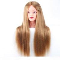 Profesyonel Mankenler Styling Başkanı Uzun Saç Peruk Kuaförler Için Kafaları Eğitim Kafası Elyaf Manken Başkanı