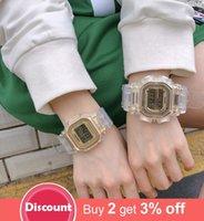 Moda Hombres Mujeres Relojes Oro Casual Transparente Digital Sport Reloj Amador Del Regalo Reloj de Regalo Impermeable Niños Niños Reloj de pulsera 201204