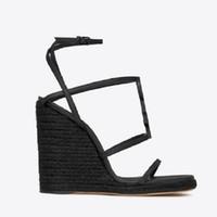 고품질 봄 웨지 샌들 클래식 슬리퍼 여름 평면 샌들 슬라이드 패션 가죽 해변 신발 EU : 35-41 상자 sh02 y1