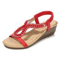 Горячие продажи новые женские клиновые сандалии алмазные бусины ювелирные изделия мода сандалии женские простые повседневные дикие женские туфли клин