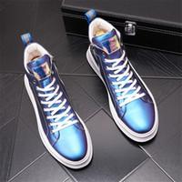 Nuevo Llegada Hombres Top Brand Designer Brillo Blanco Dorado Aumentar Zapatos Vestido de los hombres Mocasines de lentejuelas Pisos de los hombres Mocasines de plataforma BM650