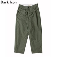 Icono oscuro Estilo suelto Pantalones de longitud de tobillo Hombres Hombre Sólido Pantalones Hip Hop Pantalones Hombres Black Khaki Green Y201123