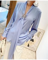 Seda suelta camisa de manga larga mujer vintage blusas tops camisa de las mujeres1