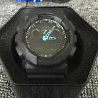 Смотреть модные часы Мужчины Женские Спортивный Цифровой Светодиодный Дизайнер Autolight Водонепроницаемый GA100 Студенческий бренд Военные Часы с коробкой