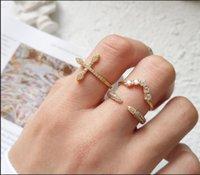 Sterling prata cz jóias micro pavimentada zircônia cúbica amor lateralmente anel transversal aberto v em forma de casamento em forma de casamento 0244