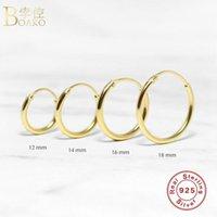 Boako S925 Серебряные серьги для женщин 2021 глянцевый Pendiente Piercing Ohrring Gold Hoop Серьги Brincos Aretes Роскошный подарок для вечеринок
