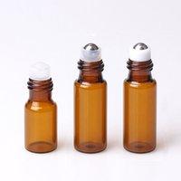 Slim 1ml 2ml 3ML 5ML Leerer Glaswalzenflaschen Ätherische Öl Tragbare Kosmetische Serumrollenglasflasche mit Metallkugel und Golddeckel