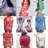 Kadınlar Tulumlar Tulum Tasarımcı Pijama Onesies Gecelikler Bodysuit Egzersiz Düğmesi Sıska Baskı V Yaka Kısa DHL