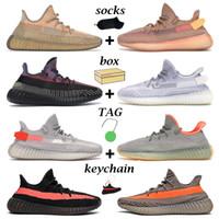 Yeni Kanye Erkek Kadın Koşu Ayakkabıları Kum Taupe Carbon Cinder Statik Siyah Yekeil Zebra Beluga Krem Erkek Trainer Açık Sneakers Kutusu