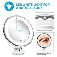 Makyaj Vanity ayna ile 10x Işıklar LED Işıklı Taşınabilir El Kozmetik Büyütme Işık Yukarı Aynalar Dropshipping 0498