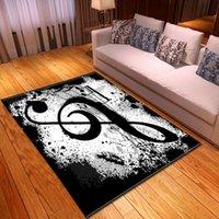 Blanco y negro Piano Key Sala de estar Alfombras Música Notas Niños Área de la habitación Alfombra Mat de la alfombra suave Flannel grande Decoración de la carpeta