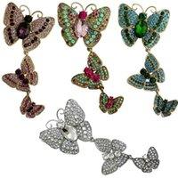 Rhinestone 3 Schmetterlinge Brosche für Frauen, was Tropfen Quaste Hochzeit Dekoration Tier Corsage Pins1