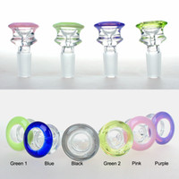 Liya Glas 14mm Schüssel Glas Diamantstil Dicke Pyrex Glasschüsseln mit bunten lila Tabakkraut Wasserbong Bowl-Stück für Rauchen