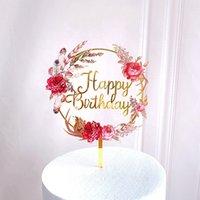 Acrylique décorer carte amour coeur en forme de gâteau insertion Nouveau charmant fleur anniversaire fête arrangement accrochent vente chaude 3zw k2