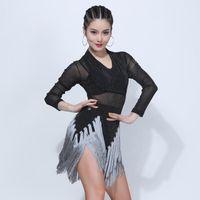 2020 Latin Dance Dress Female Sexy Tassel Mesh Long-Sleeved Costume Professional Women'S Ballroom Samba Waltz Practice Dresses