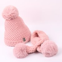 2021 New Hat Scarf Solid Baby Pompom Girls Boys Winter Warm Knitted Hemming Hat Beanie Cap+Scarf Keep Warm Set 5-9 Year Kids