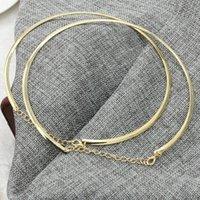 1 stück neu punk einfache runde kreis heiße drehmomente für frauen damen metall gold silber draht halskette kragen choker modeschmuck