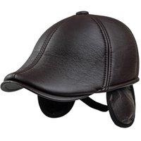 Kış Şapka Erkekler Baba Tasarım Şapka Kulakflap Ile Erkek PU Deri Şapka Sıcak Kulak Flap Bere Kap Erkekler Düz Gastby Duckbill Ivy Newsboy Cap