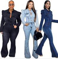Güz Kış Kadın Katı Renk Denim Kot Tulum Boutger Boyutu Flare Pantolon Düz Rahat Giysiler 3XL 4XL 5XL Uzun Kollu Skinny Rompers 4236