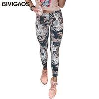 оптом мода газета Belle черные белые цифровые печатные граффити цветы леггинсы брюки упругие леггинсы брюки женщин