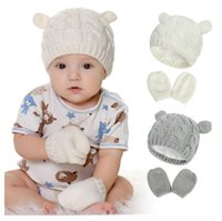 Luvas de chapéu de inverno recém-nascido Unisex Kids Set Knit Bebê Beanies Quente 4 Cores de Alta Qualidade Criança Infantil Caps com Luvas Y7