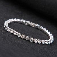 Pulsera simple Female Cristal Dulce Cristal Zircon Day Novias Silver Plated Hand Jewelry Wild Diamond Bracelet Fashion Joyery Supply