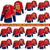St. Louis Blues 2020-21 Reverse Retro Jersey 90 Ryan O'Reilly 91 Vladimir Tarasenko 47 Torey Krug 50 Binnington 55 Parayko Hockey Jerseys