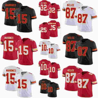 2021 Mens Womens Çocuklar / Youth Patrick Clyde 15 MAHOMES 25 Edwards-Helaire Tyrann 32 Mathieu Tyreek 10 Hill Travis 87 Kelce Jersey