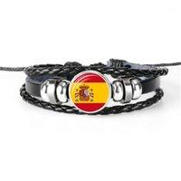 Charme Armbänder Spanien, Südafrika, Samoa, San Marino, Senegal, Salomoninseln Flagge Armband, Handgewebe Multilayer Leder Armband1