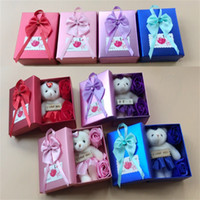 4 ألوان الإبداعية الصابون زهرة الدب هدية مربع هدية عيد الحب عيد الحب الديكور روز زهرة مربع الحاضر السفينة حرة 278 G2