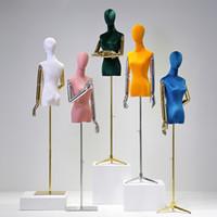 Molti colori sono disponibili vestito modulo di velluto copertura mezza corpo femminile modello di manichino modello con display a bracci in legno per le donne coagulazione