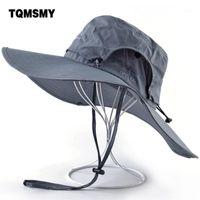 Unisex Güneş Şapkaları Kadınlar Için Geniş Ağız Balıkçı Cap Hiking Kamp Gorros Açık Su Geçirmez Kumaş Şapka Anti-UV Kova Caps Men1