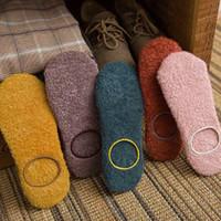 Calcetines calcetines 1pair mujer invierno piso terciopelo interior antideslizante antideslizante color sólido zapatilla caliente