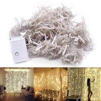 Vendita calda 300-LED calda luce bianca romantica natale nozze decorazione all'aperto tenda corda stringa luce alta luminosità stringhe luci
