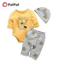 Patpat bebe otoño e invierno algodón león casual 3 piezas conjunto bebé niño niño lindo body pantalones sombrero traje ropa bebé 201102