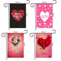30 * 45cm Valentines Journée de jardin Bannières de jardin Polyester Garden Drapeau Holiday Atmosphère Décor Bannière Bannière Vierge Drapeaux W-00645