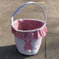 Yeni Paskalya Sepetleri Tavşan Kuyruk Çantası Sevimli Kız Çocuklar Dantel Sepet Paskalya Yumurta Hediye Şeker Saklama Torbaları Vintage Tuval Bunny Çanta