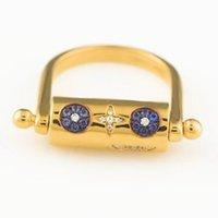 Umgodly 구리 패션 옐로우 골드 컬러 고품질 뱀과 별 멀티 패턴 된 회전 손가락 반지 여성용 보석 y1124
