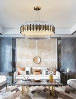 الثريا الكريستال الحديث الخفيفة غرفة المعيشة الفاخرة بسيطة إضاءة مصباح فيلا فندق مصباح قلادة اللوبي مصمم مطعم الثريا