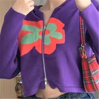 E-Girl Streetwear Floral Chartwork вязаный кардиган Y2K Винтаж фиолетовый женский свитер 2020 Одежда для женщин Kardigan вечеринка