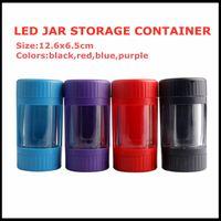 Светодиодный накаливаемый банку для хранения контейнера 7 цветов 12,5 * 6,5 мм увеличительное стекло Stask Glow Mag Jar с мельницей для курения DHL DHL бесплатно