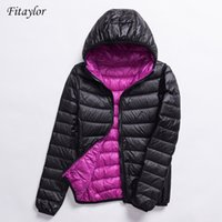 Fitaylor New Women Ultra Light Down Jackets Casual Double Side Reversible Coats Plus Size 4XL Female Outwear With Bag 201124
