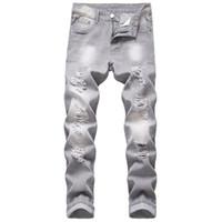 Moda Erkekler Yırtık Kot Gri Slim Fit Düz Erkekler Streç Streç Pantolon Yıkılan Yüksek Kalite Birçok Delik Gri Jeans Erkek