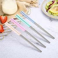 Vier Farben Sushichopstick lang kurze Edelstahl Essstäbchen Multicolor Solide Farbe Küche Home Zubehör Multi Spezifikation 1 25SY M2