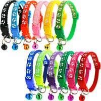 12 colores Collar de mascotas con Bell Ajustable Hebilla Ceras de seguridad Pequeño Cat Dog Puppy Cuello Collares Correa Producto GWF8332