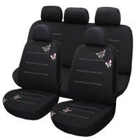 9pcs nova borboleta bordado assento de carro capa universal ajuste a maioria dos veículos assentos acessórios interior1