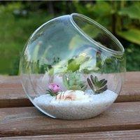 15cm 투명 라운드 유리 꽃병 병 수경 용기 냄비 꽃 DIY 홈 테이블 웨딩 장식 유리 꽃병