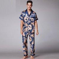 Sleepwear da uomo 2021 Retro Moda con scollo a V Manica corta Pigiama Morbido Smooth Falso Pigiama di seta Falso per gli uomini con la stampa XL XXL SY018